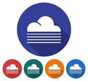 Round icon of  foggy weather. Flat style illustration with long shadow in five variants background color Stock Images