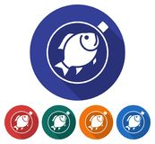 Round icon of  fried fish on a pan. Flat style illustration with long shadow in five variants background color Stock Photos