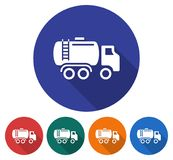 Round icon of fuel truck. Flat style illustration with long shadow in five variants background color Stock Image