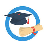 Round icon graduate cap and diploma Stock Images