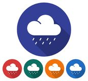 Round icon of heavy rainfall. Flat style illustration with long shadow in five variants background color Royalty Free Stock Photos
