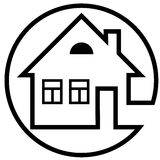 Round icon house with a chimney and windows with black outline Stock Images