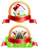 Round icon with houses Stock Photos