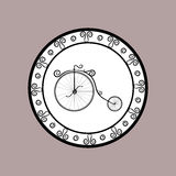 Round icon with the image of a vintage style retro bicycle Stock Photos