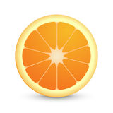 Round Icon of Juicy Orange Fruit Stock Images