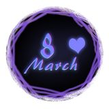 Round icon. Neon blue - violet-pink glowing inscription `March 8` in a black circle. Congratulations on the holiday royalty free illustration