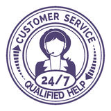 Round icon for non stop customer service on white. Round icon for non stop customer service with a professional female support operator providing through headset royalty free stock photo