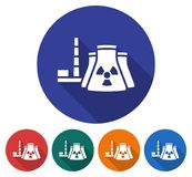 Round icon of nuclear power plant Stock Photos
