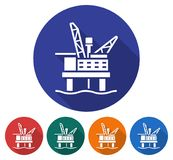 Round icon of offshore oil platform Stock Images