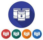 Round icon of oil barrels. Flat style illustration with long shadow in five variants background color vector illustration