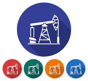 Round icon of oil derrick Royalty Free Stock Images