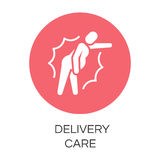 Round icon of person in pain. Delivery care concept. Round icon of person in pain. Label drawn in flat style. Delivery care concept. Simple red logo for websites Stock Photography