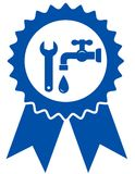 Round icon with plumbing wrench Royalty Free Stock Images