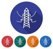 Round icon of power transmission pole. Flat style illustration with long shadow in five variants background color Royalty Free Stock Images