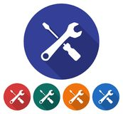 Round icon of screwdriver with spanner vector illustration