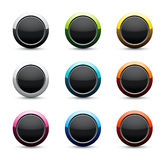 Round icon set. Set of multi-colored round glossy icons isolated on white Royalty Free Stock Images