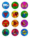 Round icon set of colorful zodiac symbols isolated on white. Horoscope icons in stained-glass window style. There is in addition a vector format EPS 8 Stock Image