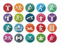 Round Icon set - sport on colorfull background Stock Image