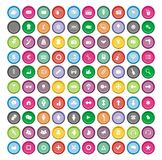 100 round icon sets Stock Photo