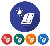 Round icon of solar battery Stock Photos