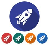 Round icon of space rocket. Flat style illustration with long shadow in five variants background color Royalty Free Stock Photography