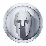 Round icon of Spartan helmet with scratches from Stock Image