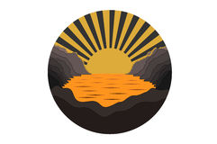 Round icon with sunset. Icon with landscape in yellow and brown colors Stock Photography
