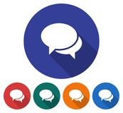 Round icon of two blank speech bubbles. Dialogue icon. Flat style illustration with long shadow in five variants background color royalty free illustration