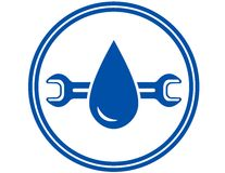 Round icon with water drop and wrench Stock Image