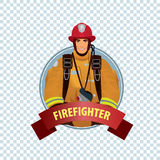 Round icon on white background with firefighter Royalty Free Stock Image