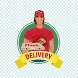 Round icon on white background with pizza courier. Isolate round icon on white background with courier, young man, standing in branded clothes and holding out stock illustration