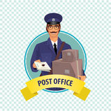 Round icon on white background with postman Royalty Free Stock Photography
