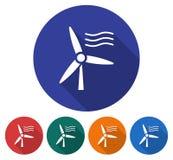 Round icon of wind turbine Stock Photography