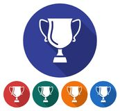 Round icon of winner trophy cup. Flat style illustration with long shadow in five variants background color Royalty Free Stock Photo