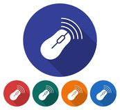 Round icon of wireless mouse. Flat style illustration with long shadow in five variants background color Stock Images