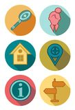 Round Icons in autumn colors. Round Icons with shadow in autumn colors stock illustration