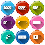 Round icons with batteries charging Royalty Free Stock Image