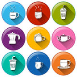 Round icons with coffee and tea Stock Images