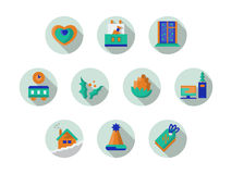 Round icons collection for Xmas holidays. Round Christmas and New Year button. Collection of flat color simple icons with long shadow. Elements of web design for royalty free stock photography