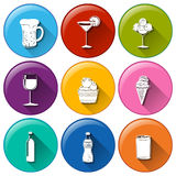 Round icons with the different refreshing drinks Royalty Free Stock Photography