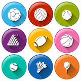 Round icons with the different sports balls Royalty Free Stock Images