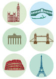 Round Icons of European Capital Cities. Icons of European capital cities of London, Berlin, Rome, Venice and Paris. Parliament and Big Ben, Eiffel Tower, Roman Royalty Free Stock Photography