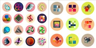 Round icons with geometric infographic templates Royalty Free Stock Photography