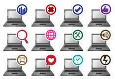 Round Icons and Laptops Vector Illustration Stock Photography