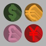 Round icons of most popular world currency dollar, euro, pound and yen. Round icons of the most popular world currency dollar, euro, pound and yen Stock Images