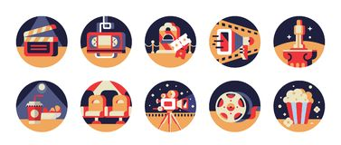 Round icons of movie gears and cinema accessories with yellow, r. Ed and blue elements. jpeg and eps Royalty Free Stock Images