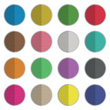Round icons. Set of round flat color icons 16 variations isolated on white, with transparencies Royalty Free Stock Photo