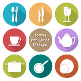 Round icons set of kitchen utensil in color Royalty Free Stock Photo