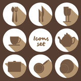 Round icons set of kitchen utensil in flat design style - colored Royalty Free Stock Image