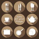 Round icons set of kitchen utensil in monochrome Stock Image